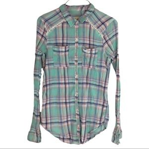 3/$25 Hollister Plaid Button up with Lace Detail